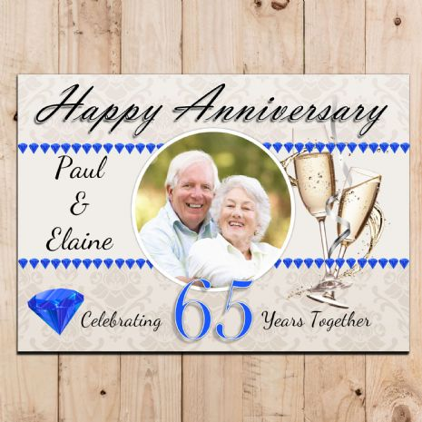 Personalised Sapphire 65th Wedding Anniversary Party PHOTO Banner Poster N69